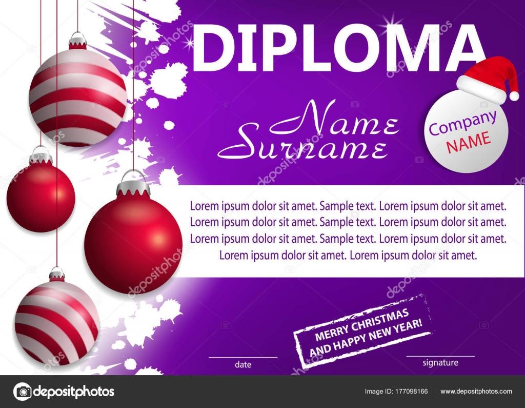 Lila Vorlage Weihnachten Diplom oder Zertifikat. Neujahr-Belohnung ...