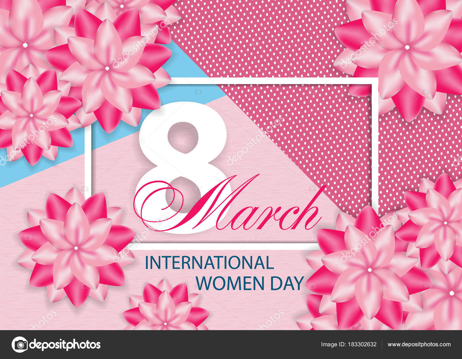 Beautiful pink background with flowers for International women's day on March 8. Vector illustration. — Vector by NataliaKarebina