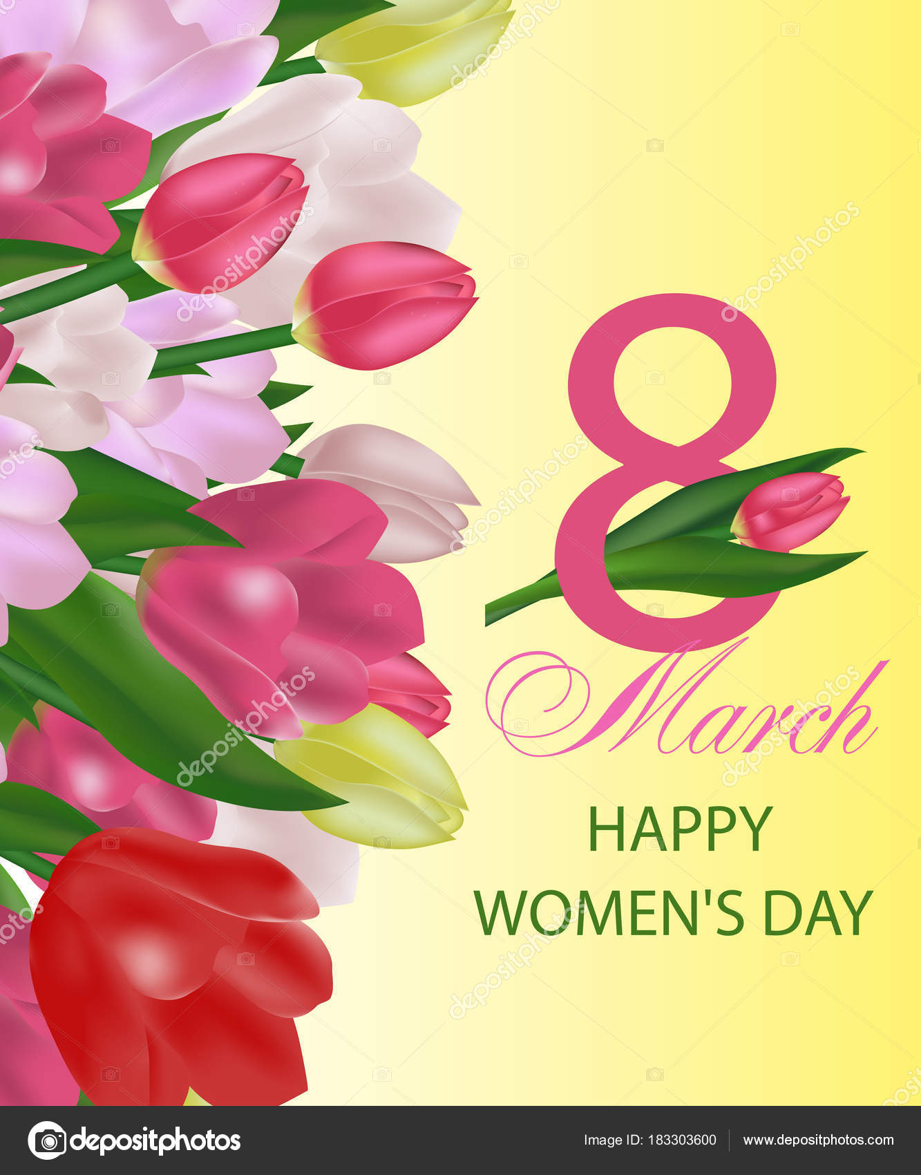 March 8 International Womens Day Greeting Card Template With