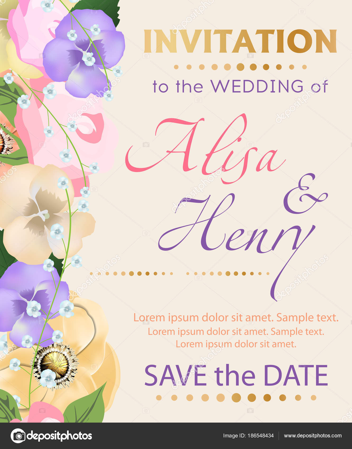 Wedding invitation template with beautiful flowers greeting card ...
