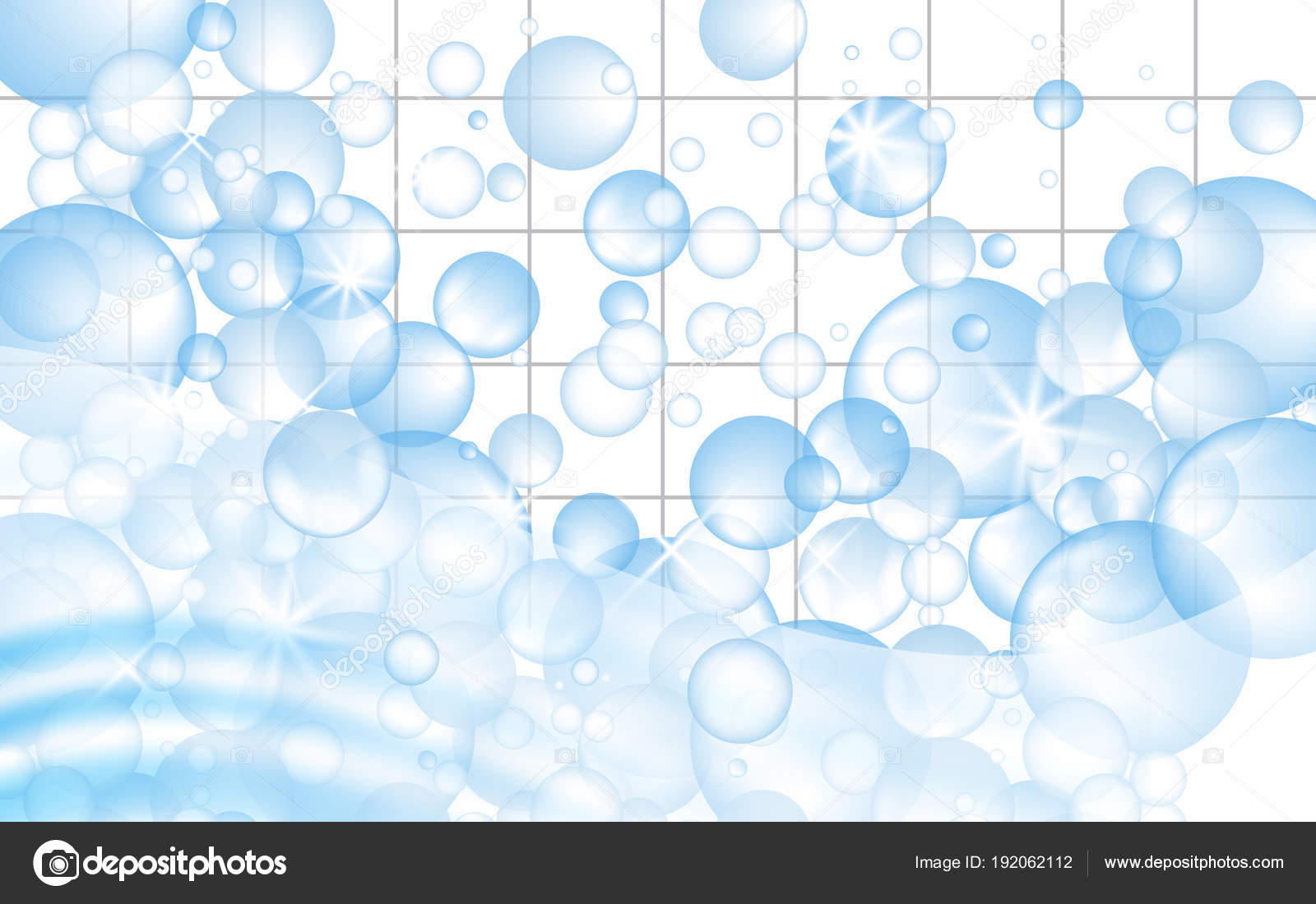 Tessere di mosaico bianco sfondo con bolle di sapone galleggianti