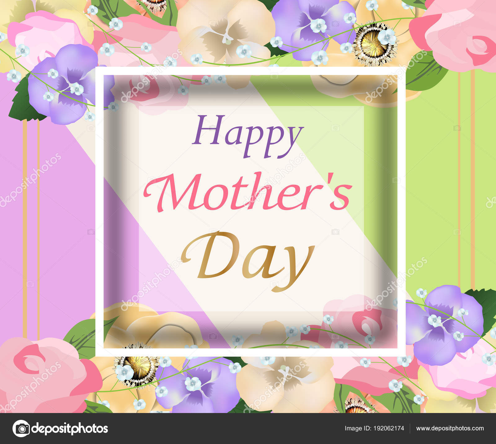 Background Mothers Day With Beautiful Flowers Greeting Card Design