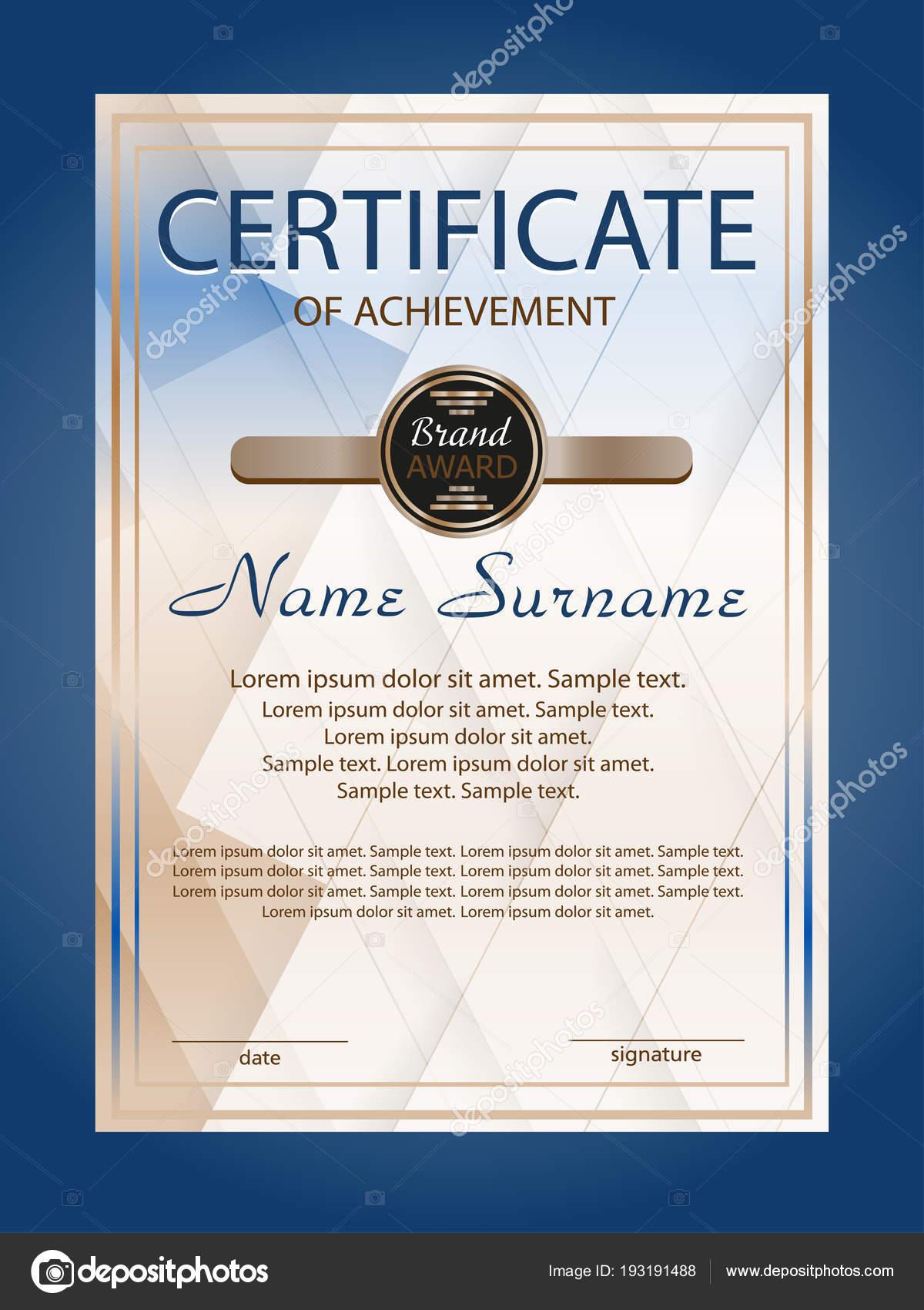 Vertikale Errungenschaft oder Diplom Zertifikatvorlage mit blauem ...