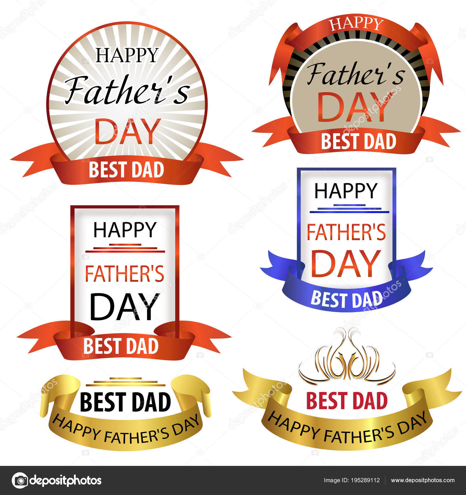 Happy Fathers Day Greeting Cards Set Emblems Best Dad Vector