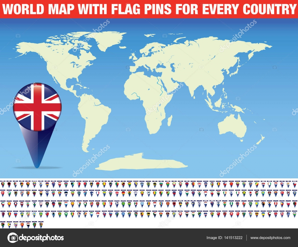 World map with flag pins for every country stock vector world map with flag pins for every country stock vector gumiabroncs Images