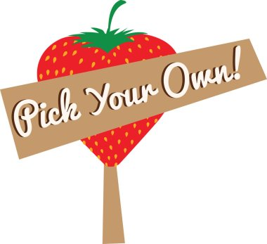 pick your own strawberries cartoon sign