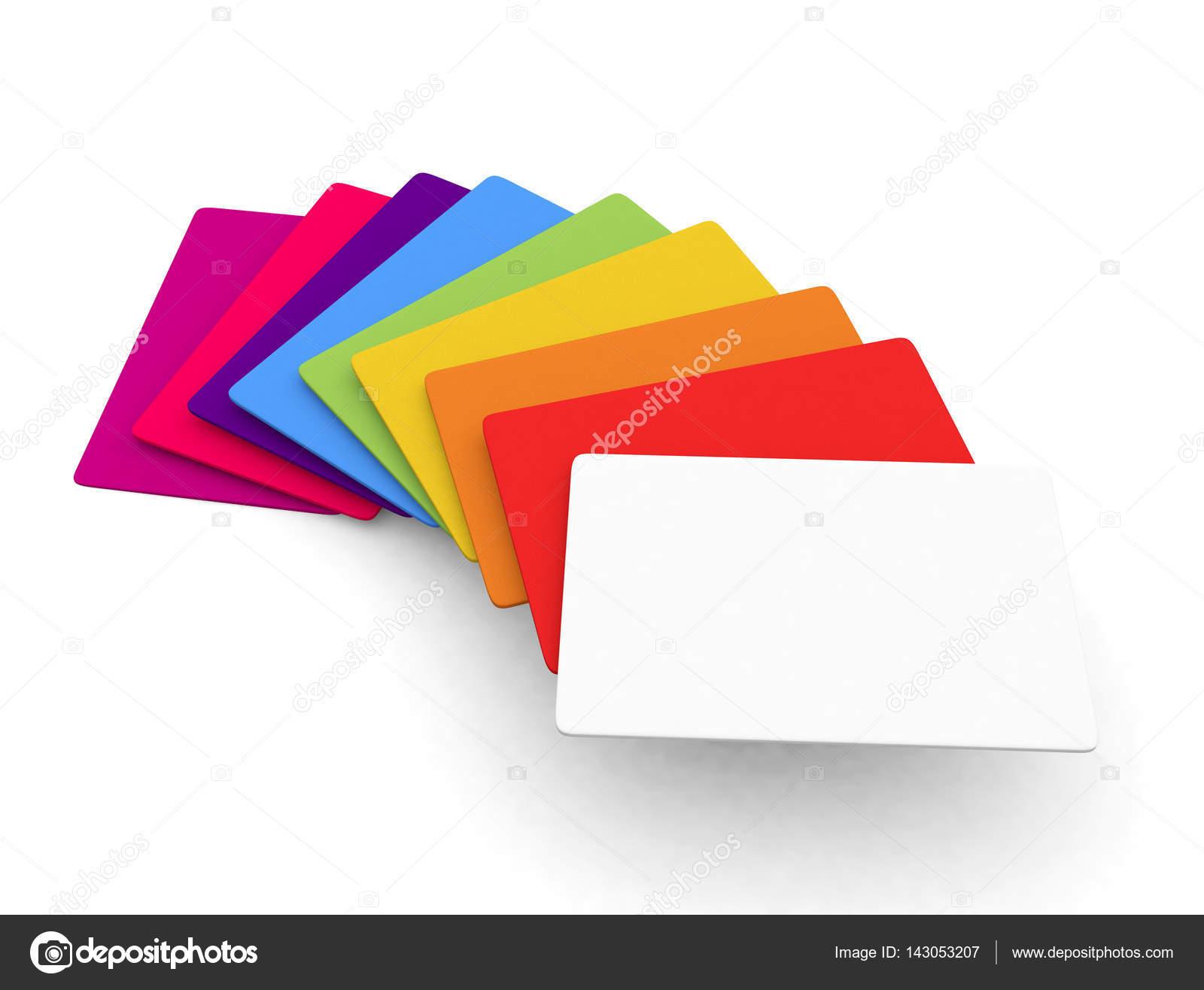 Auswahl An Farbigen Leer Kreditkarte Oder Visitenkarte Größe