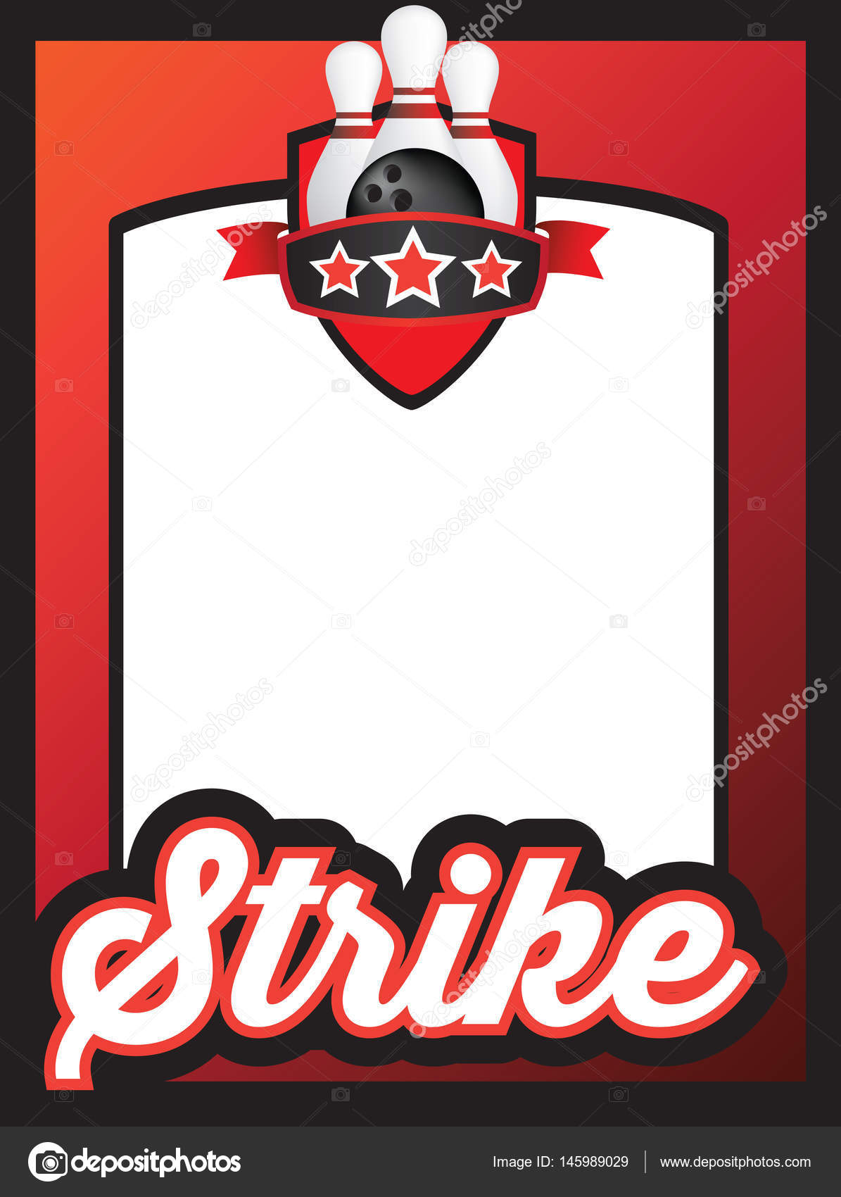 poster template for ten pin bowling club or league — Stock Vector ...