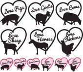 Fotografie Liebe britischen Bauernhof Tier Logos oder Aufklebern, Etiketten