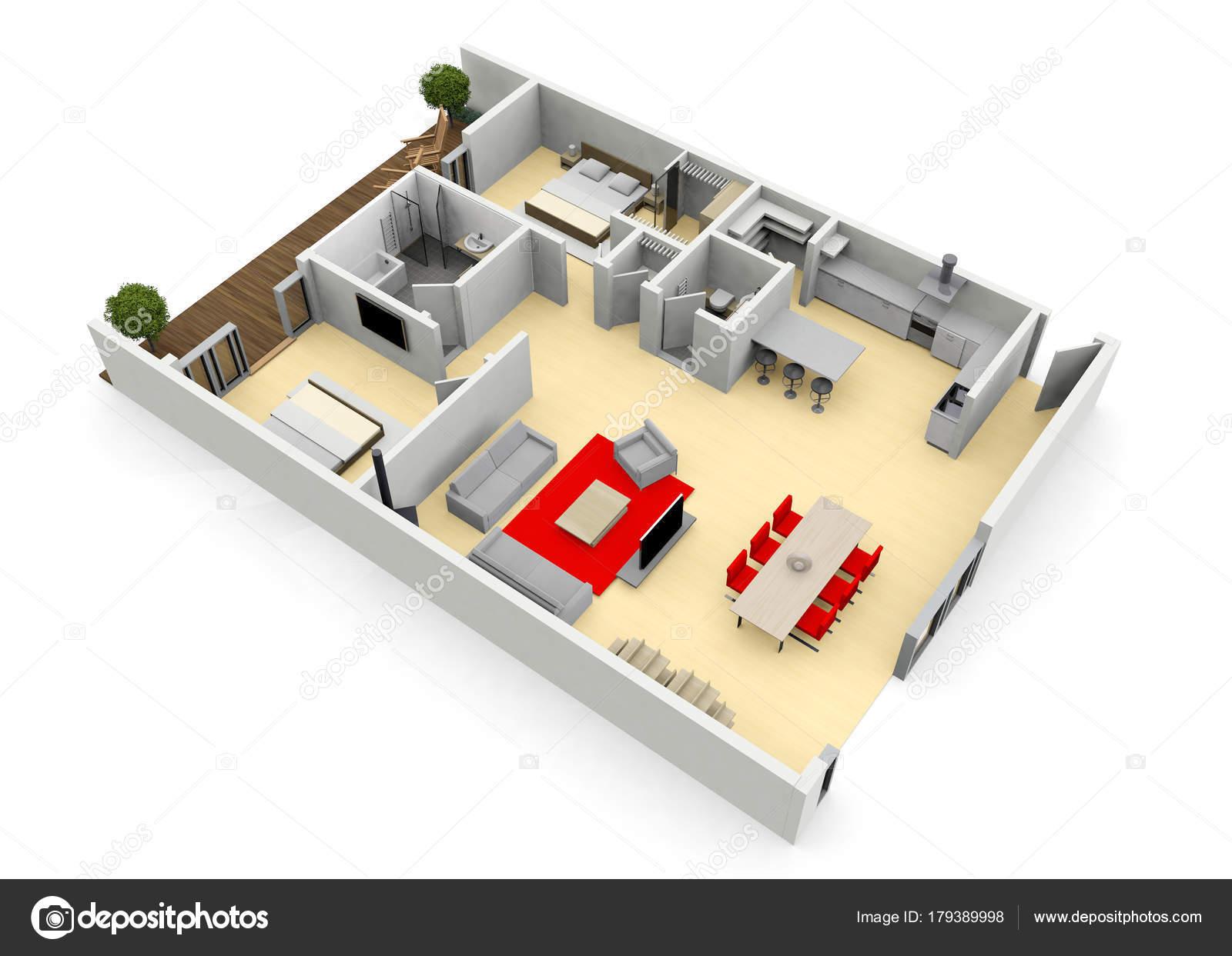 3D cgi oiseaux oeil vue plan d étage d une maison ou un appartement– images  de stock libres de droits ab2351978a21