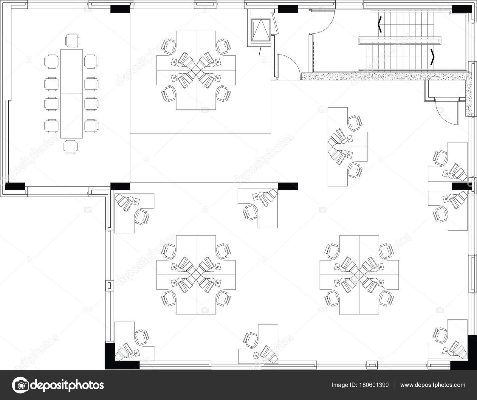 商業オフィス レイアウトのフロアプラン — ストックベクター © joingate