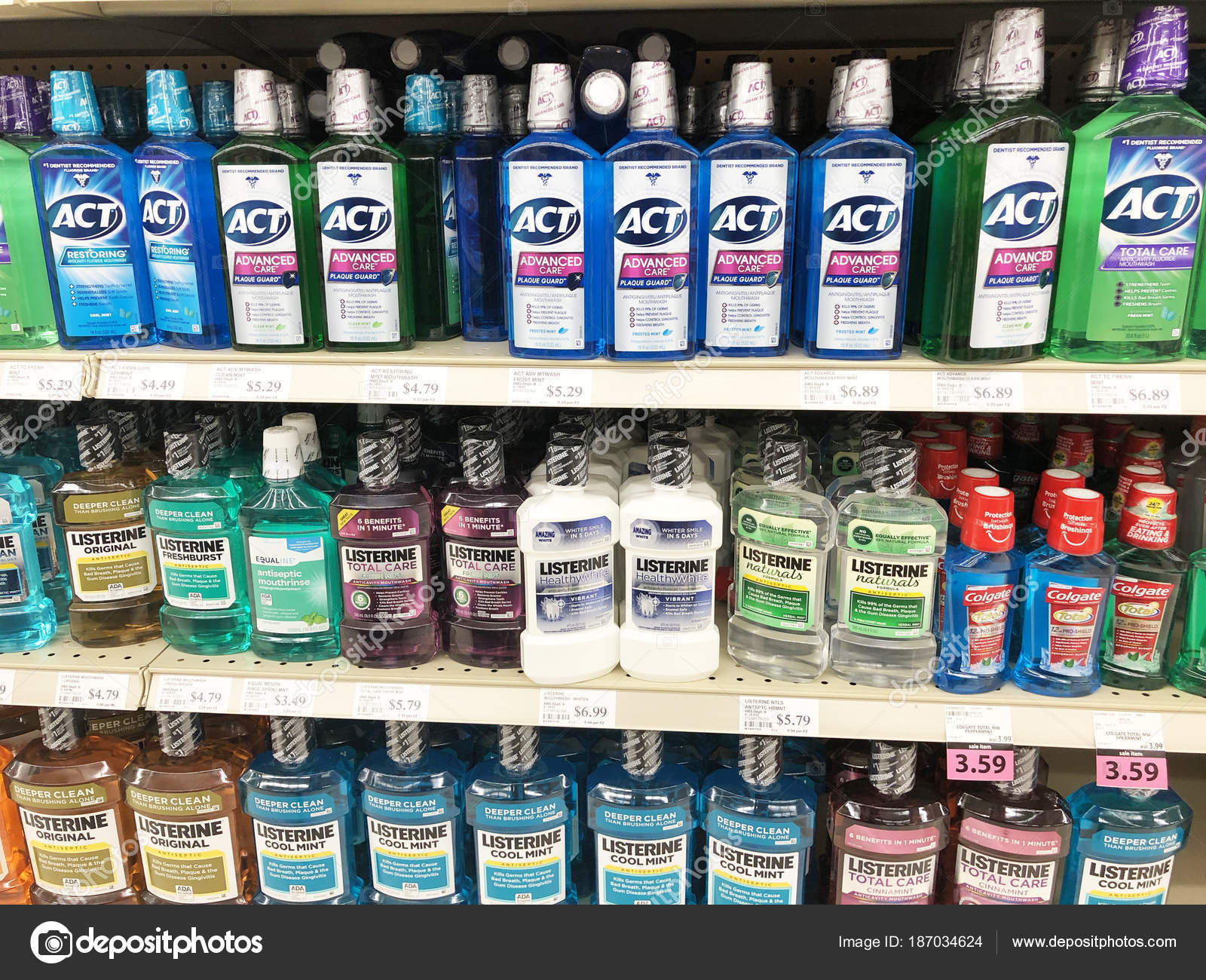 Several bottles of Mouthwash on a Drugstore shelf – Stock Editorial Photo © dcwcreations #187034624