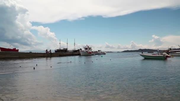 Ships on landing pier