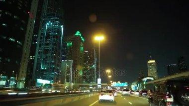Dubai city traffic at night