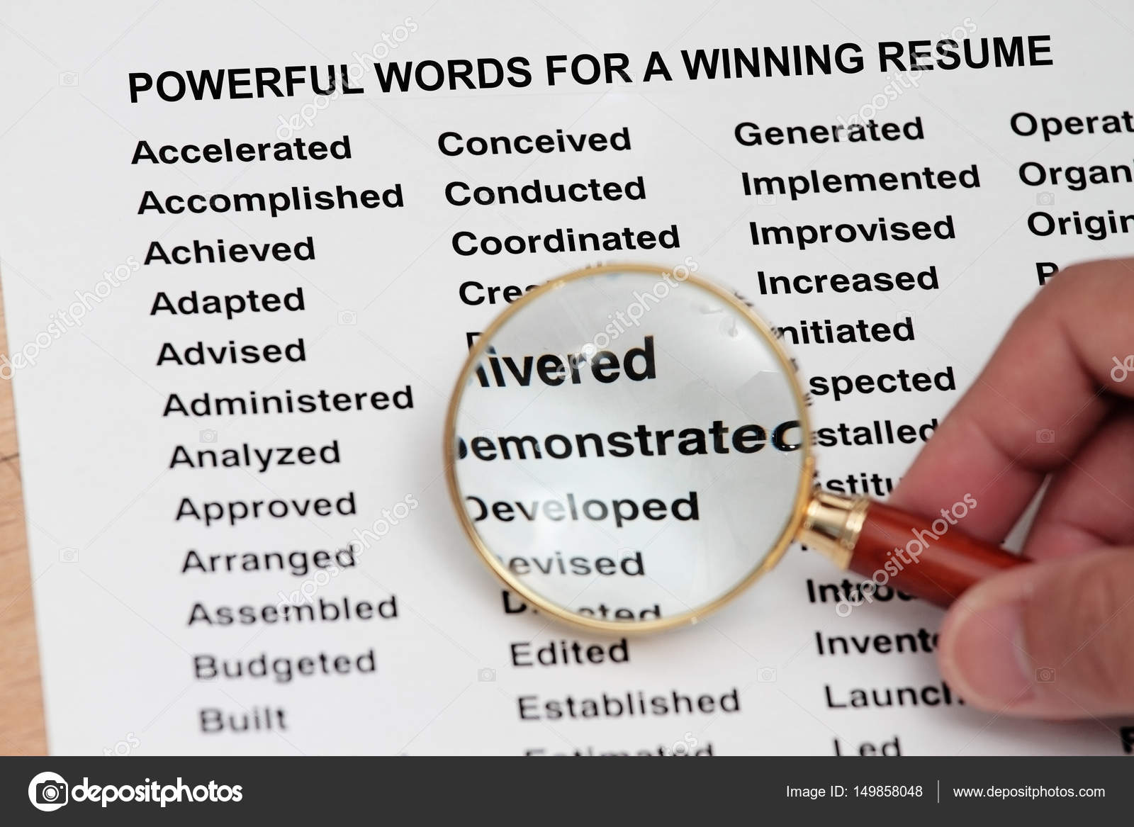Palabras poderosas para un CV ganador — Foto de stock © fiftycents ...