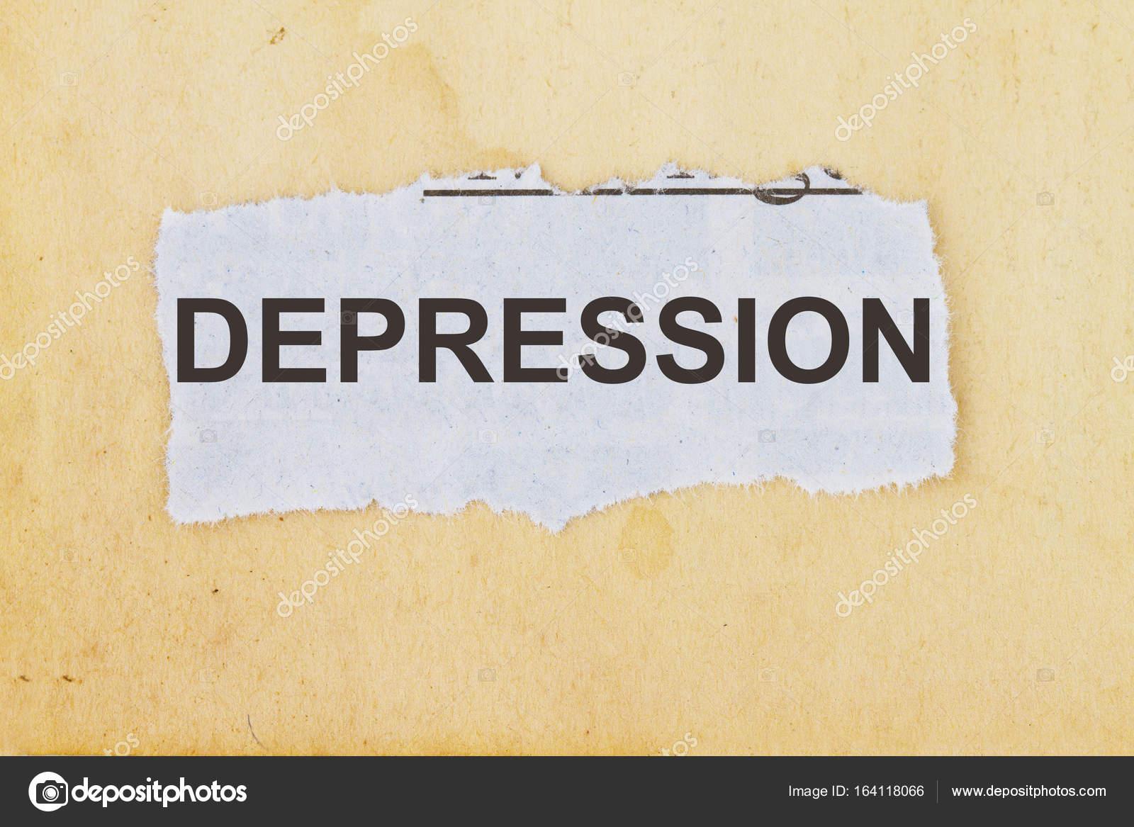 Depression Wort Geschrieben Auf Einer Zeitung Ausgeschnitten