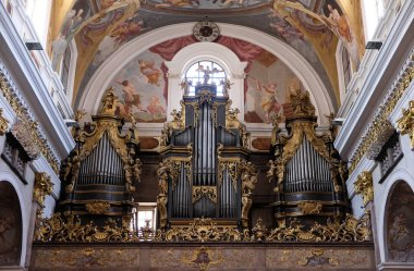 The organ at the Cathedral of St Nicholas in Ljubljana, Slovenia