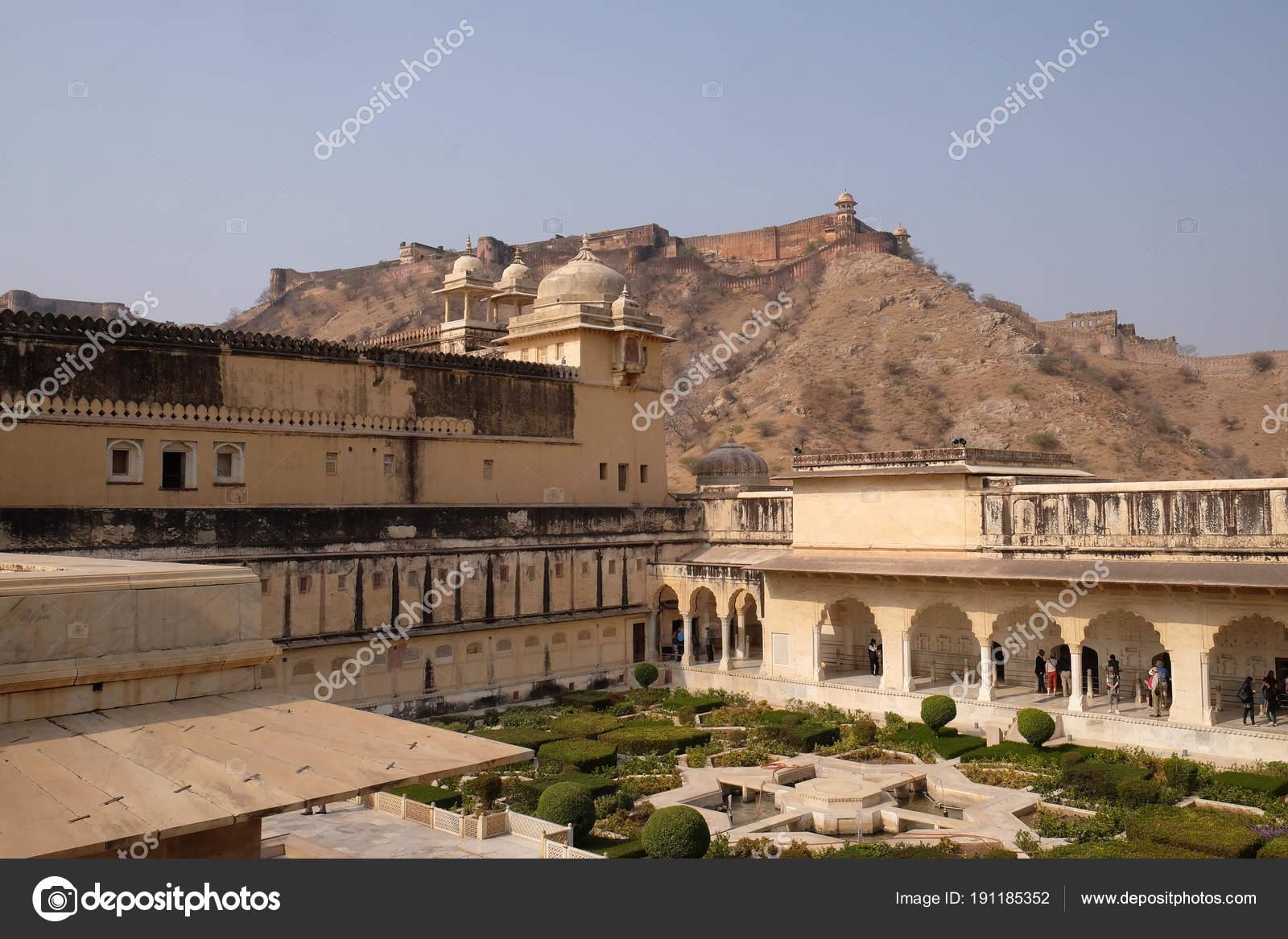 Beautiful Gardens Amber Fort Jaipur Rajasthan India — Stock Photo ...