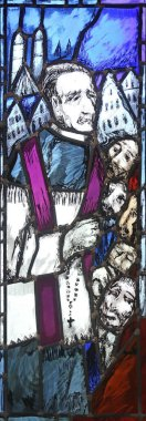Father Rupert Mayer, stained glass window by Sieger Koder in St. John church in Piflas, Germany