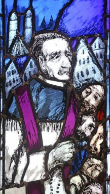 Father Rupert Mayer, stained glass window by Sieger Koder in St John church in Piflas, Germany