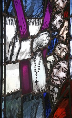 Father Rupert Mayer, detail of stained glass window by Sieger Koder in St John church in Piflas, Germany