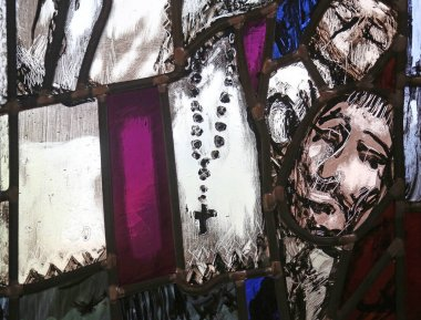Father Rupert Mayer, detail of stained glass window by Sieger Koder in St. John church in Piflas, Germany