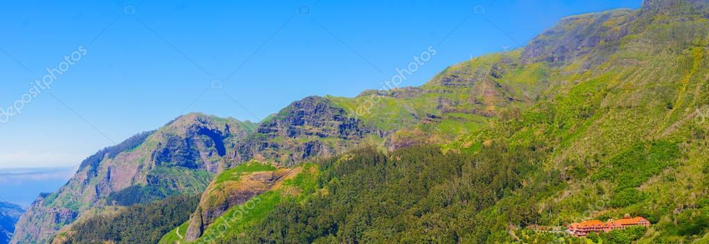 View of mountains on the route Encumeada - Boca De Corrida, Madeira Island, Portugal, Europe.