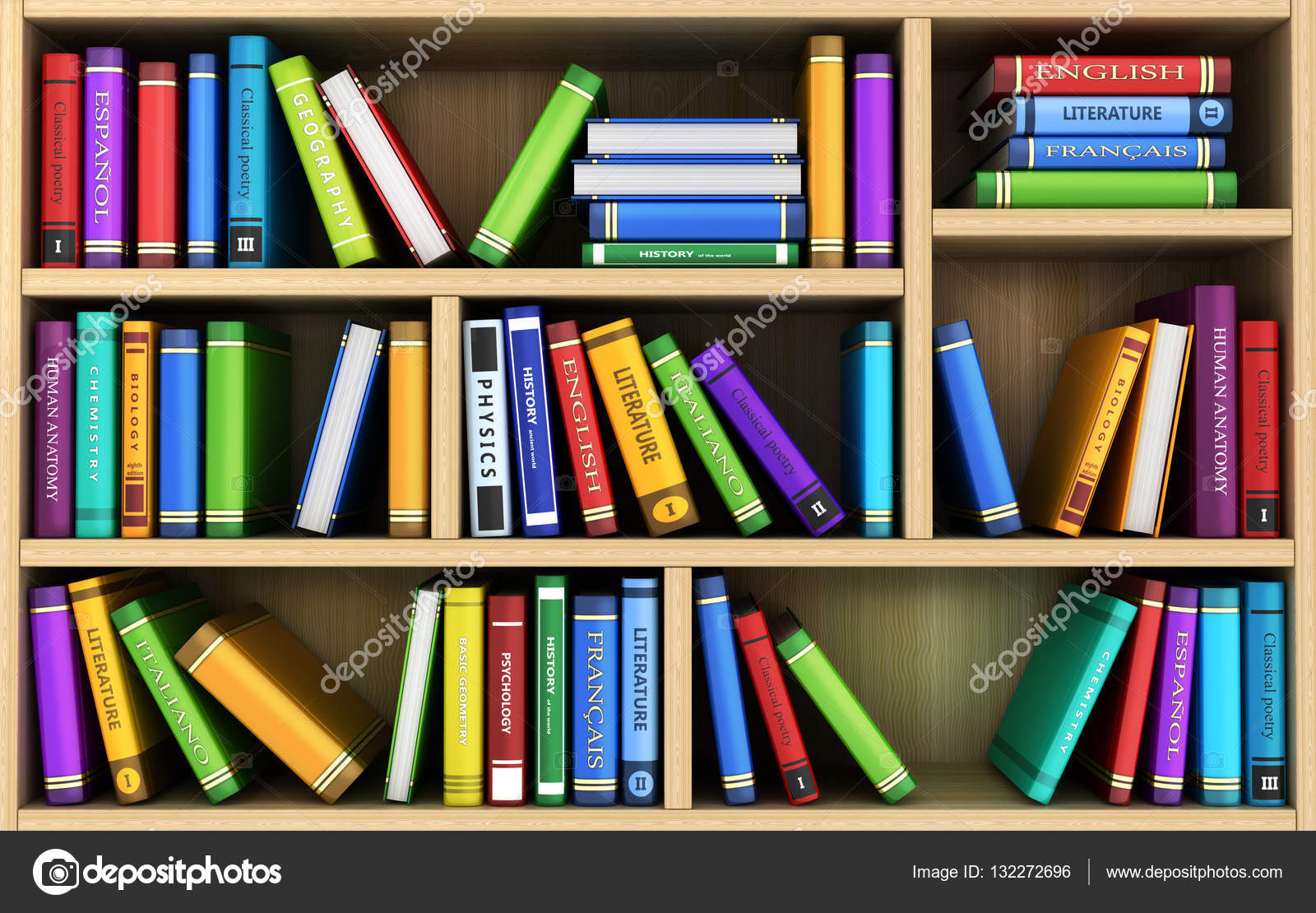 Bookshelf And Many Books Stock Photo