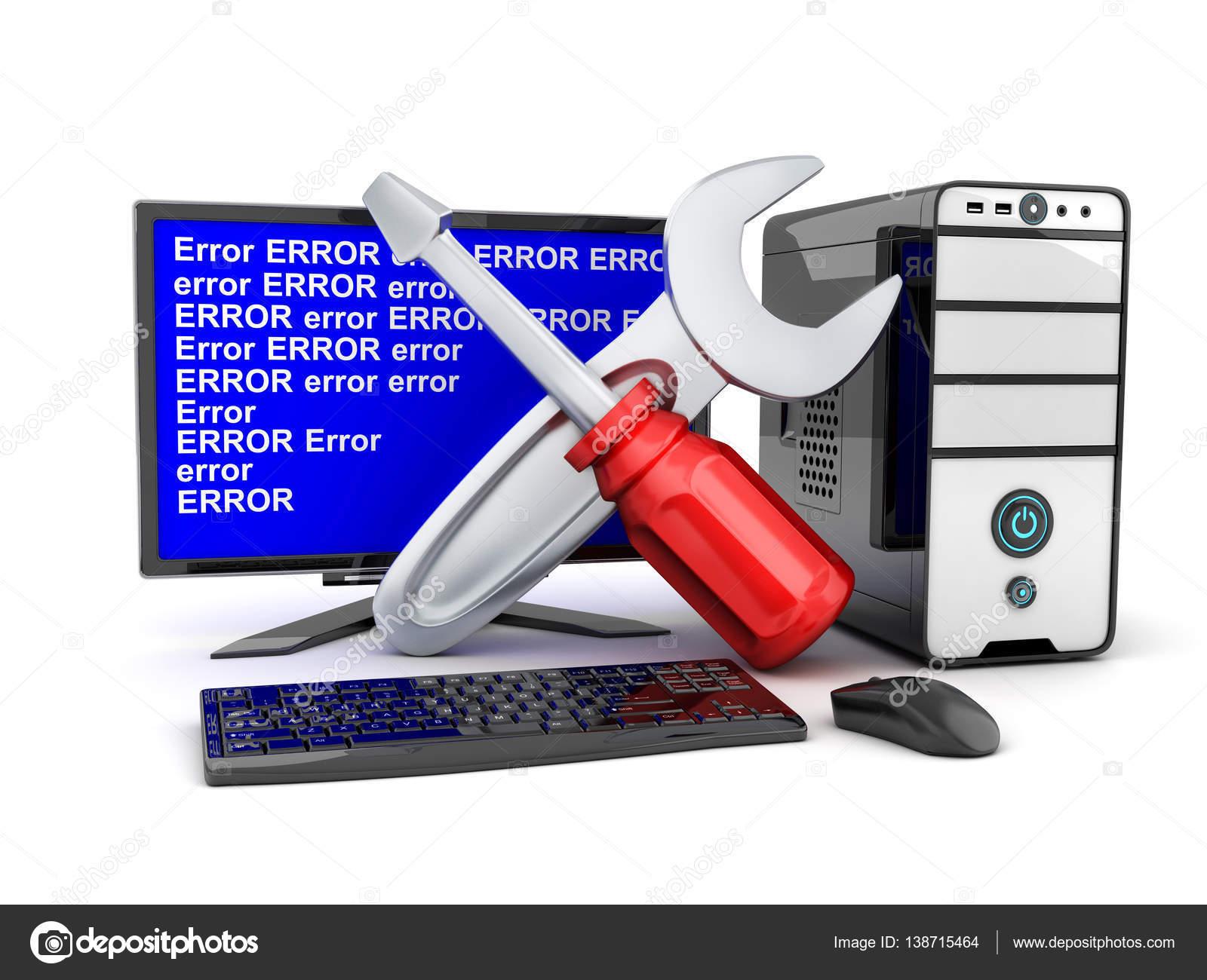 Quebrada símbolo de computadoras y reparación — Foto de stock ...
