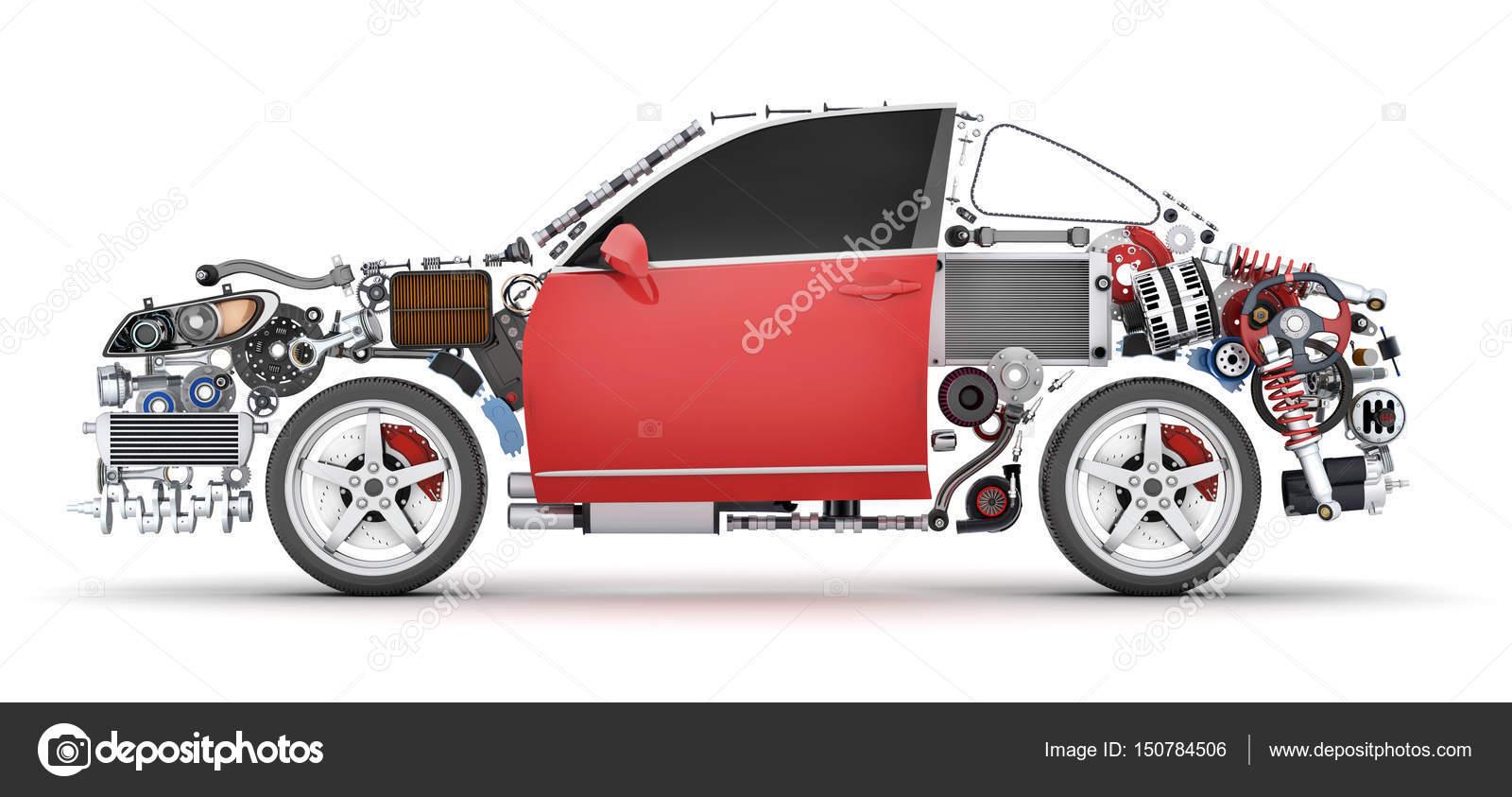 Abstract car and many vehicles parts — Stock Photo © Vladru #150784506