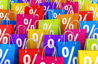 Many shopping bag and percent