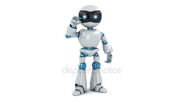Robot a znamení hello, bezešvé smyčka a alfa kanál