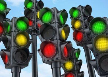 Many traffic lights
