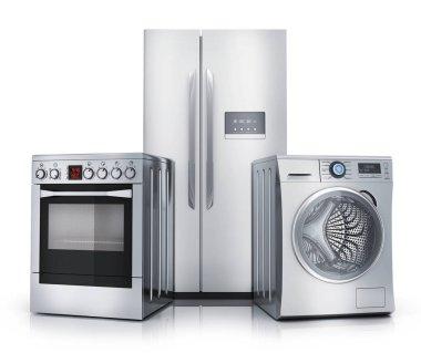 Consumer electronics on white background