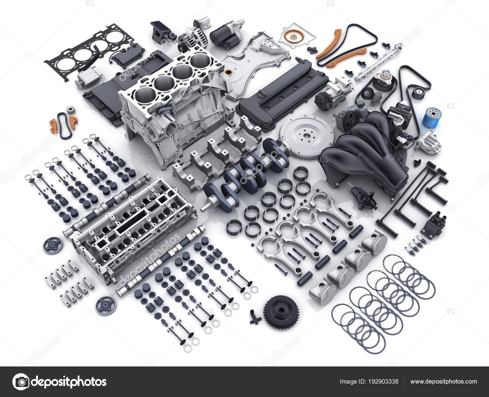 Car engine disassembled. many parts. — Stock Photo © Vladru #192903338