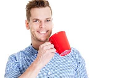 Handsome Smiling Businessman Holding Red Cup Isolated On White Background