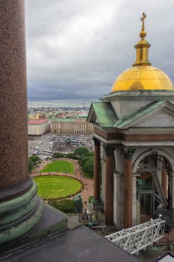 St. Petersburg, Russia, 8th of July, 2016. View from the Colonnade of the Saint Isaac's Cathedral, Saint-Isaac's square and monument