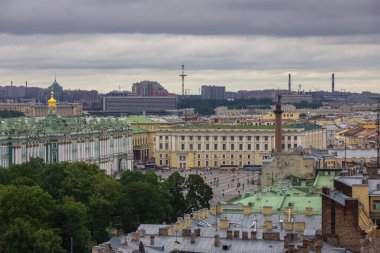 St. Petersburg, Russia, 8 of July, 2016. View from the Colonnade of the Saint Isaac's Cathedral, roofs and the Winter palace (Hermitage), square, Alexander column