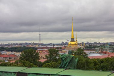 View from the Colonnade of the Saint Isaac's Cathedral in St. Petersburg, Russia, Admiralty spire and Peter and Paul Fortress spire