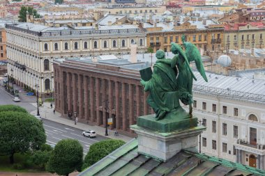 View from the Colonnade of the Saint Isaac's Cathedral in Saint-Petersburg, Russia, sculpture on the roof of cathedral