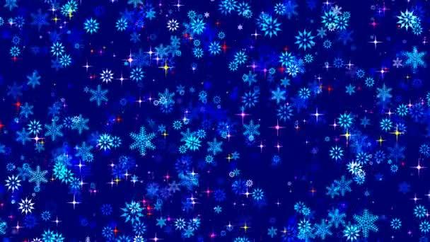 Zimní vánoční abstraktní animovaný spořič obrazovky s stylizované vločky na modrém pozadí