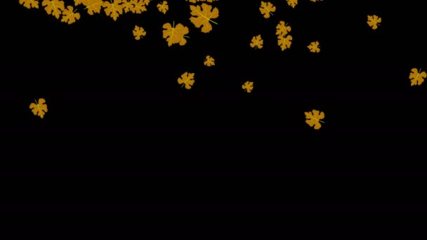 Abstract animated design screen saver with falling brown leaves on a black background computer 3d rendering