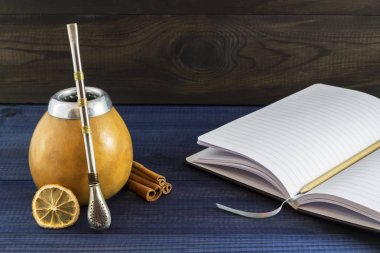 yerba matte with tools, spices and notepad