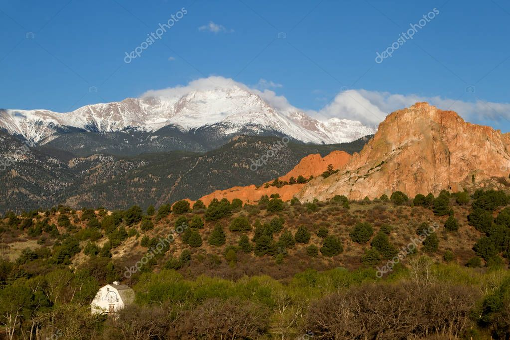 Pikes Peak and Garden of the Gods on a Spring Day