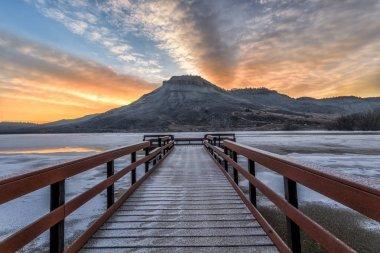 Winter Sunrise at Flatiron Reservoir located in Loveland, Colora