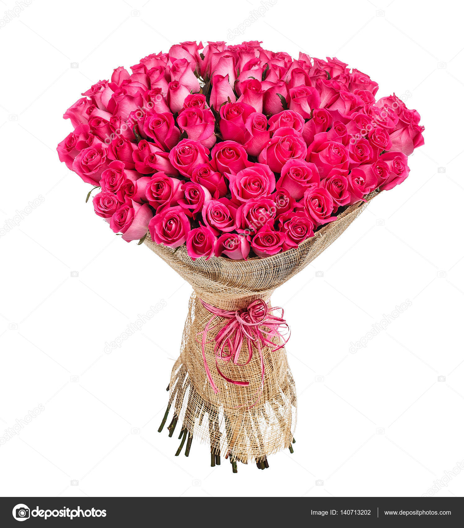 Flower bouquet of 100 pink roses — Stock Photo © vankad #140713202