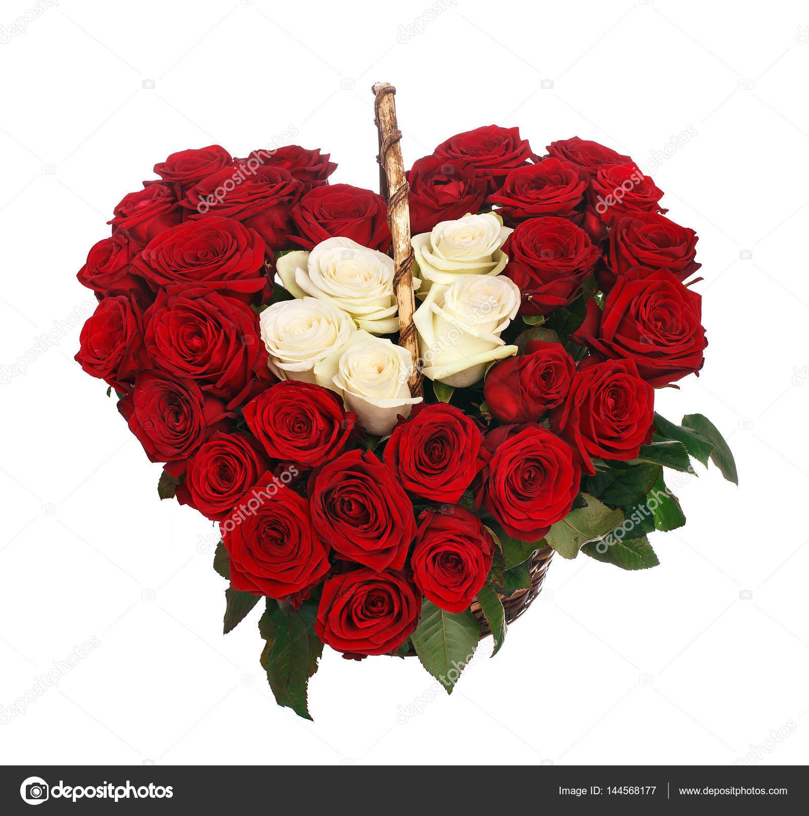 bouquet de roses rouges en forme de coeur — photographie vankad