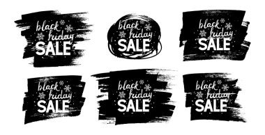 Black friday lettering on black paint splashes stock vector