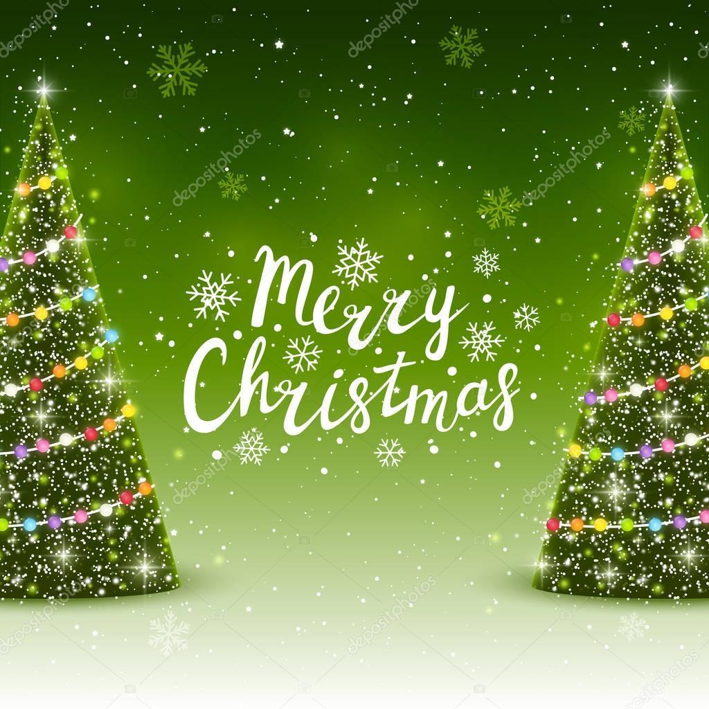 Christmas trees with Merry Christmas inscription