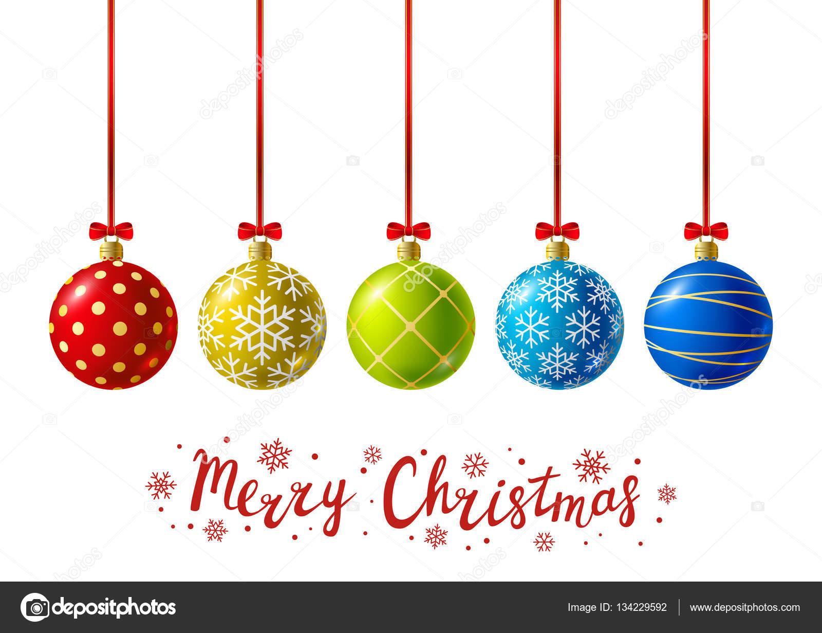 Bolas de Navidad con texto de color — Archivo Imágenes Vectoriales ...